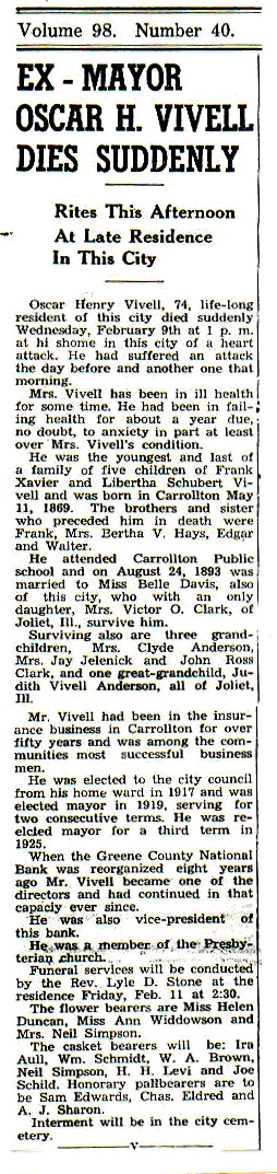 1944 Carrollton Gazette Front Page Article on Death of O. H. Vivell