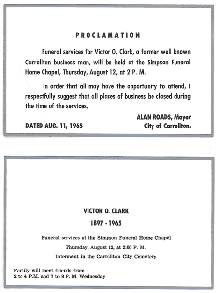 1965 Funeral announcement & Mayoral Proclamation closing businesses during the funeral of Victor O. Clark.