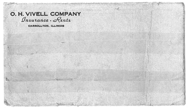 3 ½ x 6 ½ inch business envelope from 1950 for the O. H. Vivell Company run by Victor O. Clark
