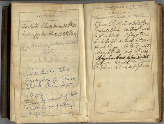 Elias Clark Jr. Family Bible