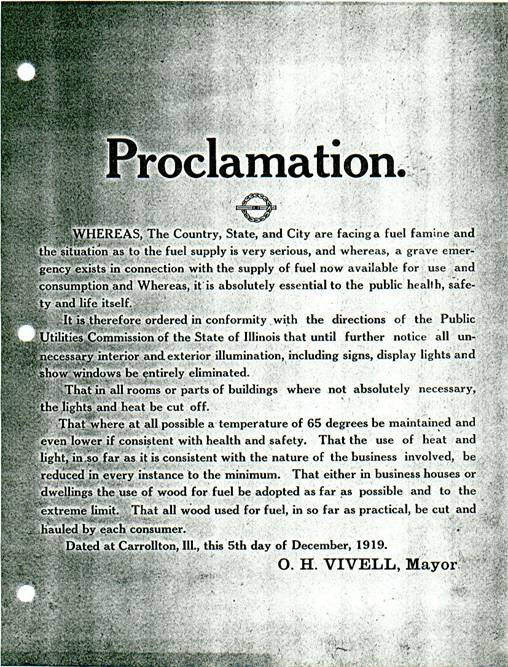 Emergency Proclamation - December 1919