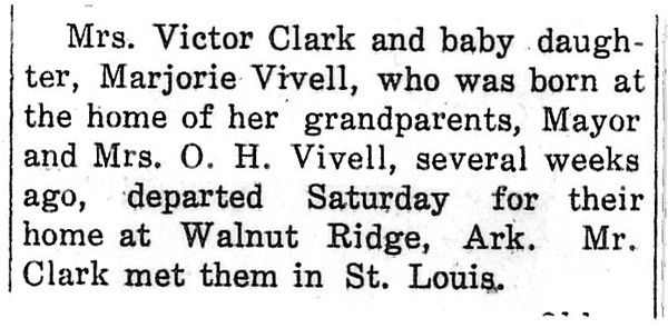 Marjorie Vivell Clark newspaper article