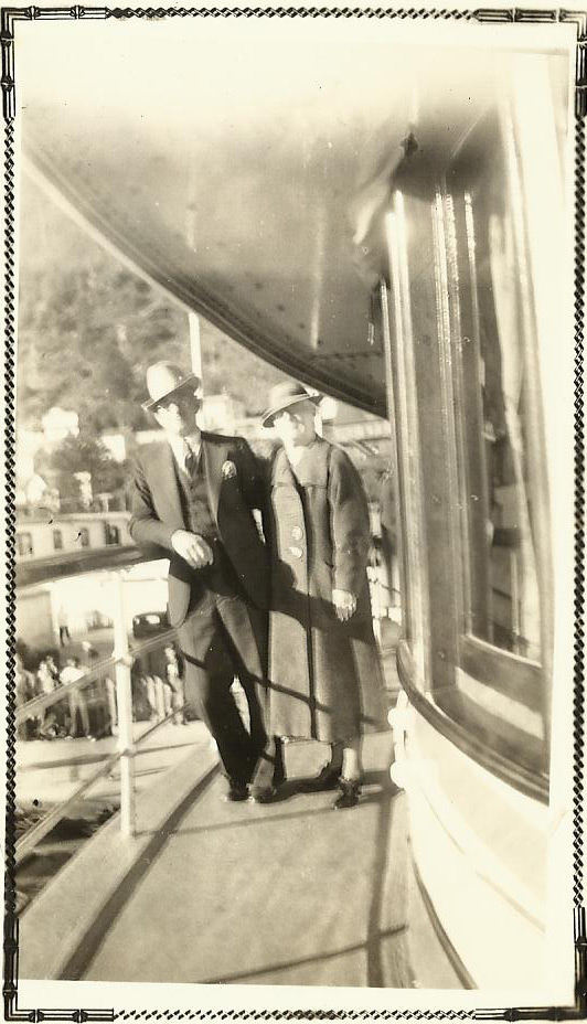 O. H. and Belle Vivell on the Steamship Yukon, Juneau, Alaska 1937