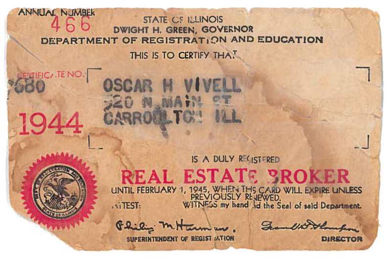 O.H. Vivell real estate license