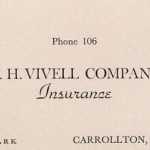 Victor Clark's - O. H. Vivell Insurance Business Card