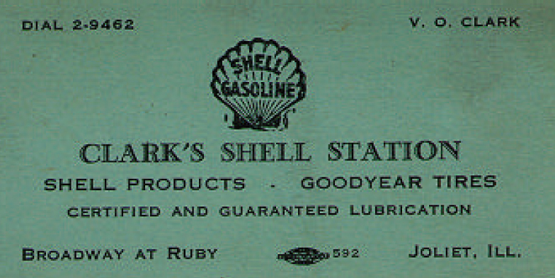 Victor Clark's - Shell Station Business Card