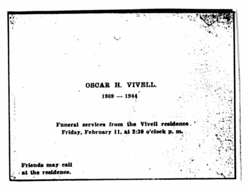 Oscar H. Vivell funeral notice