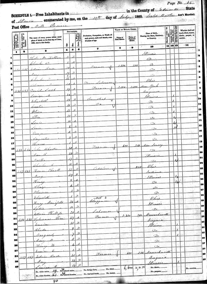 Daniel Bassett Leach 1860 IL Census