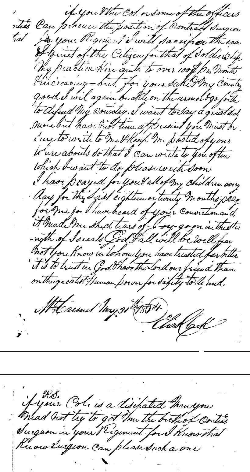Dr. Clark Letter to his son Elias Clark Page 2 & 3
