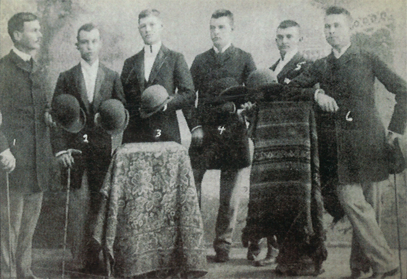 Carrollton Young Dandies, 1890, Elam Eldred, Norman Jones, Clare Shagoss, Fred Fedder, Oscar Vivell, and Charles Eldred. Image from Greene County Historical Society.