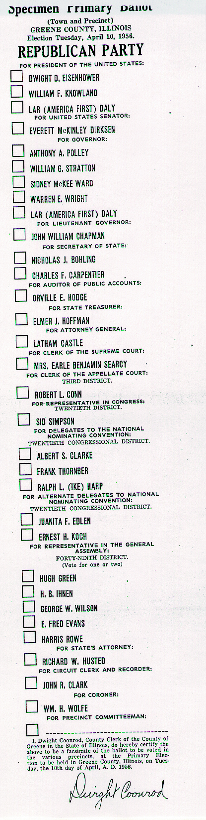 Primary ballot, 1956, Green County, Illinois