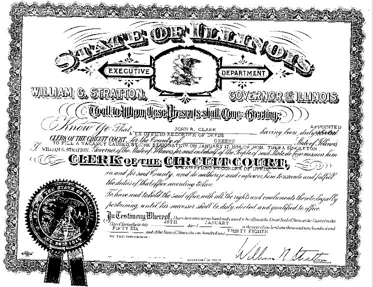 John Clark certificate from William G. Stratton