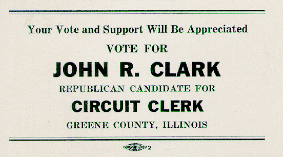 Vote for John Clark business card, Republican candidate for Circuit Clerk, Green County