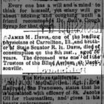 James M. Davis Death Announcement, Alton Evening Telegraph, June 10, 1885