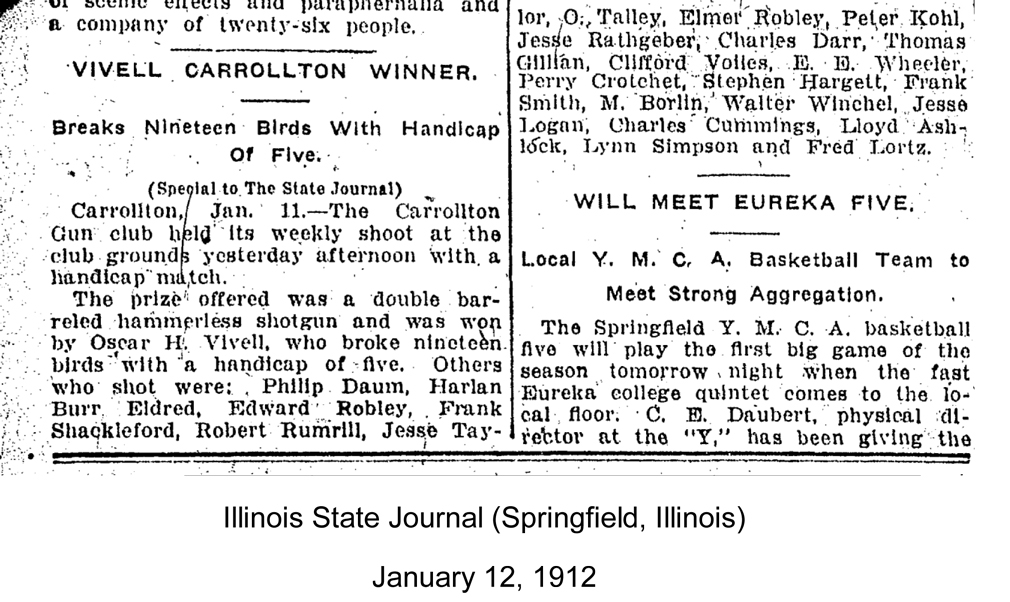 O.H. Vivell shooting contest, Illinois State Journal, Jan 12, 1912