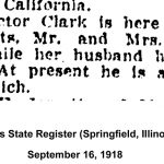 Mrs. Victor Clark visit, Illinois State Registers, September 16, 1918