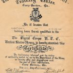 John R. Clark certificate of training U.S. Army Signal Corps training
